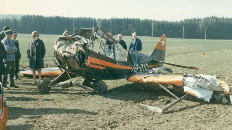 1966 verkeilten sich zwei Piper in der Luft und stürzten ab – wie durch ein Wunder blieben die Piloten unverletzt.