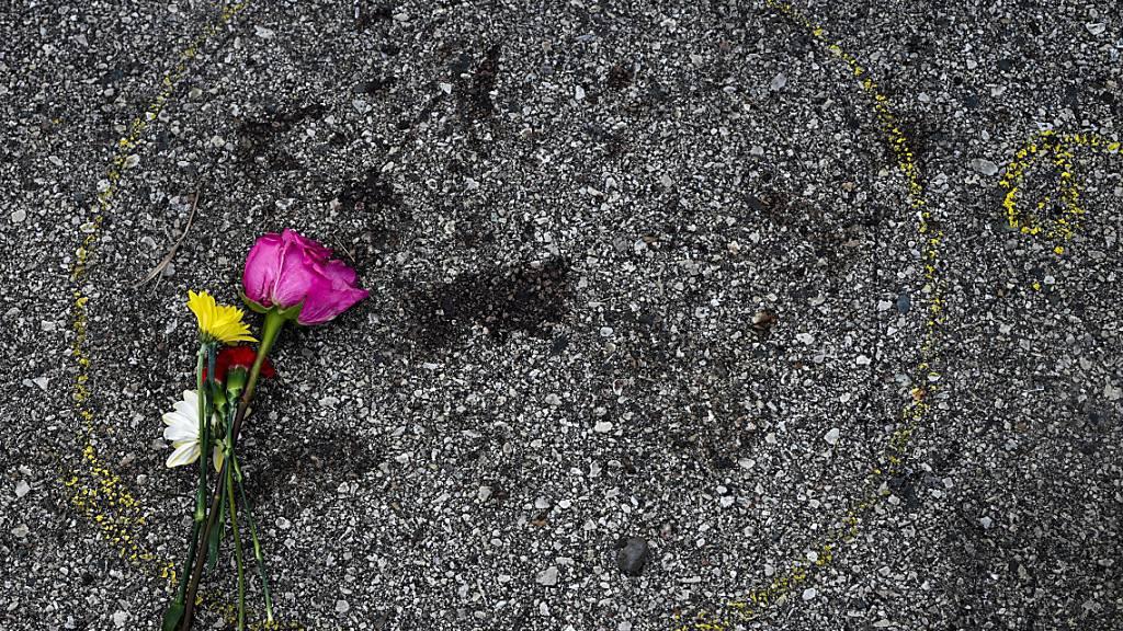 Eine Blume liegt neben einer Tatort-Markierung, wo ein Demonstrant in Kenosha erschossen wurde. Foto: Morry Gash/AP/dpa