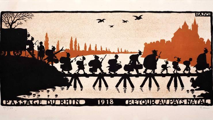 Die Ausgewiesenen durften nur 2000 Reichsmark und 30 Kilo Gepäck mitnehmen. Die Zeichnung stammt vom  elsässischen Zeichner Hansi, ein profranzösischer Patriot.