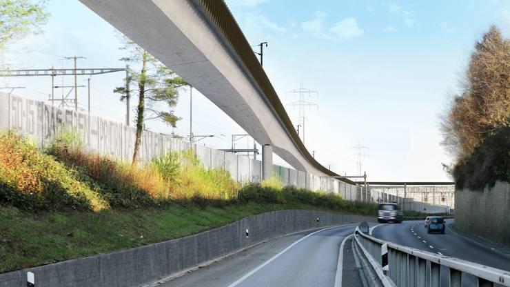 Die neue Donnerbaumbrücke soll den Verkehr entflechten. An der Seite, die den Wohnbauten zugewandt ist, werden dunkelbraune Schallschluck-Elemente angebracht.
