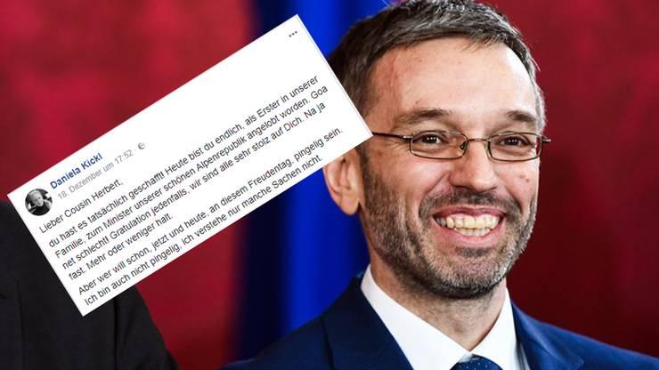 Seine Cousine hat politisch das Heu nicht auf der gleichen Bühne: Der neue Innenminister Herbert Kickl (FPÖ).
