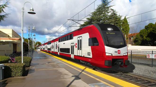 Bahnhof im Silicon Valley (Kalifornien): Züge von Stadler Rail mit Hauptsitz in Bussnang TG fahren künftig durch das Tal, in dem Google, Facebook & Co. beheimatet sind. Visualisierung