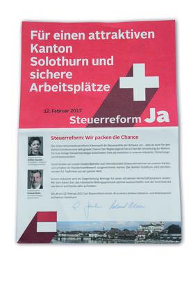 Esther Gassler und Roland Heim sind zwar nicht Mitglieder des Ja-Komitees zur Unternehmenssteuerreform III. Sie machen aber trotzdem für das Komitee Werbung.