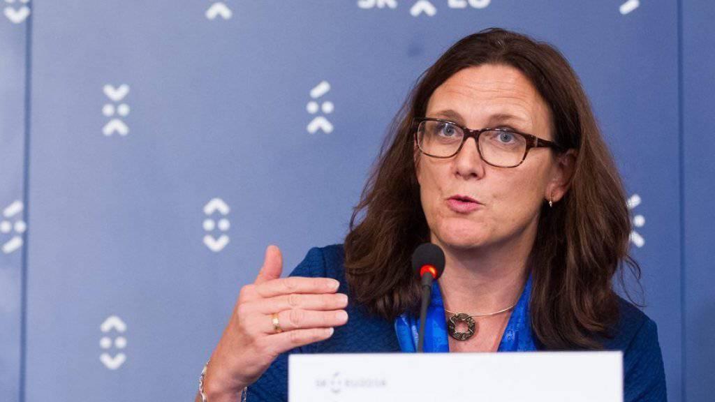 EU-Handelskommissarin Cecilia Malmström bei ihrer Medienkonferenz in Bratislava.