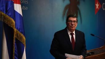 ARCHIV - Bruno Rodriguez, Außenminister von Kuba, spricht auf einer Pressekonferenz. Foto: Ramon Espinosa/AP/dpa