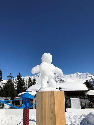 """Dieser """"Schneesportler"""" ist das Werk eines kreativen Schülers."""