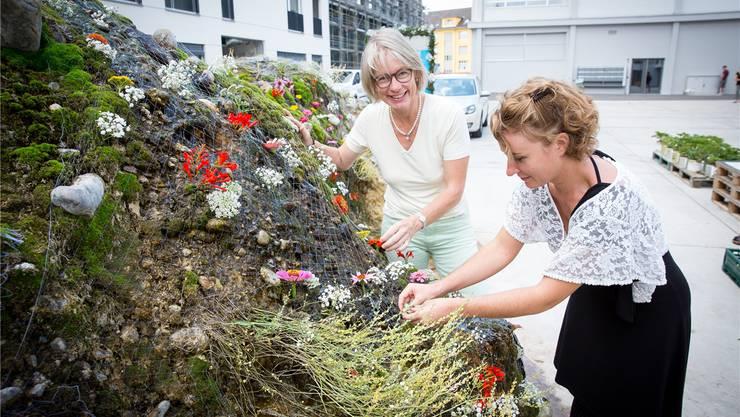 Das Werk ist fast vollendet: Irène Kälin (rechts) und Friederike Schmid.