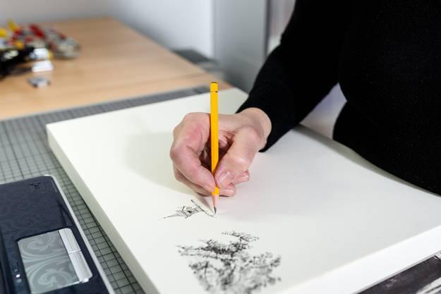 Im Bild zeichnet sie das Schlössli von Oberengstringen.