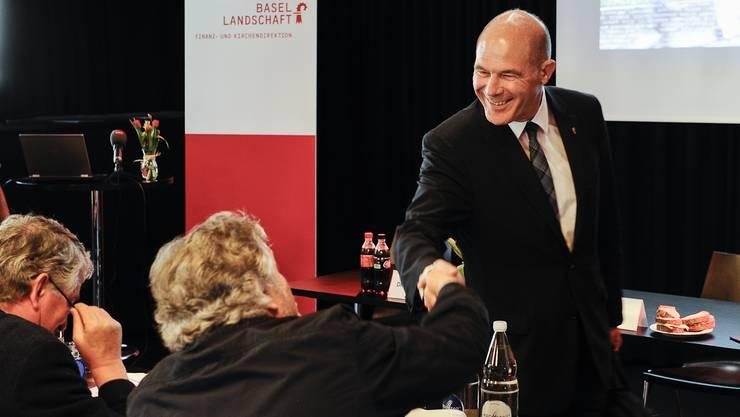 Regierungsrat Anton Lauber begrüsste heute auch die BaZ-Journalisten mit einem Lachen.