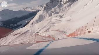 Bruno Kernen ist für das SRF die Männer-Abfahrt an der Ski-WM 2017 in St. Moritz gefahren, mit der 360-Grad-Kamera.
