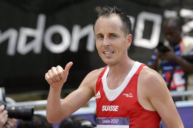 Nach dem Rennen ist Röthlin zufrieden mit seiner Leistung