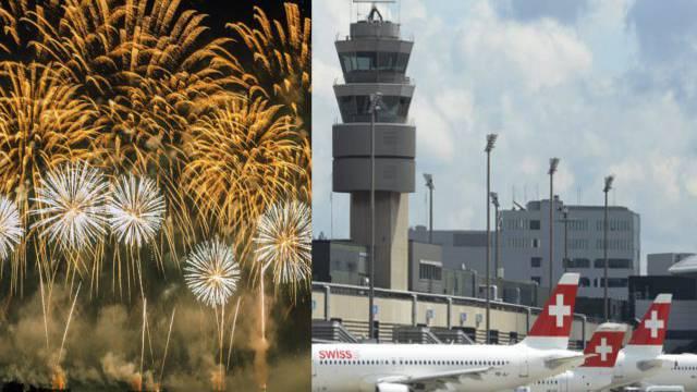 Der Flugbetrieb am Flughafen Zürich wird durch Feuerwerkskörper beeinträchtigt.