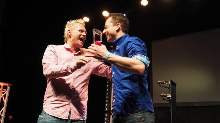 Begeisterten die Zuschauer im Kurtheater: Peter Löhmann (links) und Timo Marc.