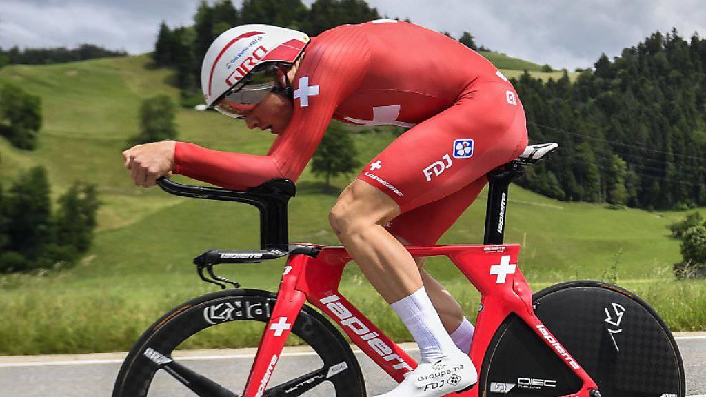 Stefan Küng zeigte sich trotz der knapp verpassten Medaille im EM-Zeitfahren in Alkmaar zufrieden mit seiner Leistung