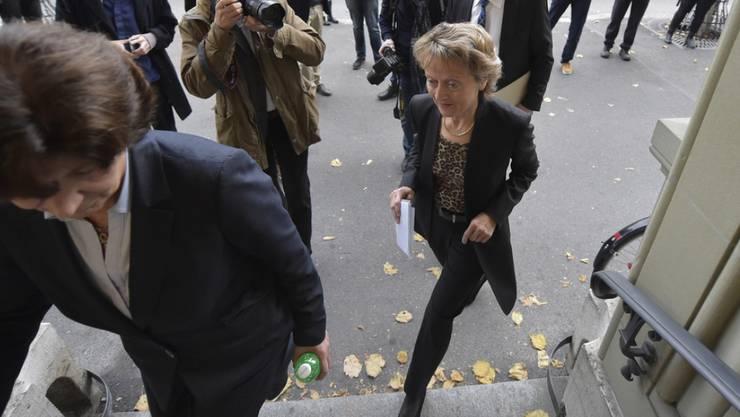 Bei der Bekanntgabe ihres Rücktritts sorgte eine schwungvolle und gelöste Bundesrätin Eveline Widmer-Schlumpf immer wieder für Lacher.