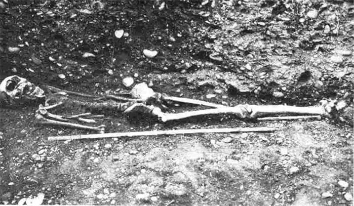 Ein männliches Skelett aus dem Telli-Friedhof.Aarauer Neujahrsblätter 1935