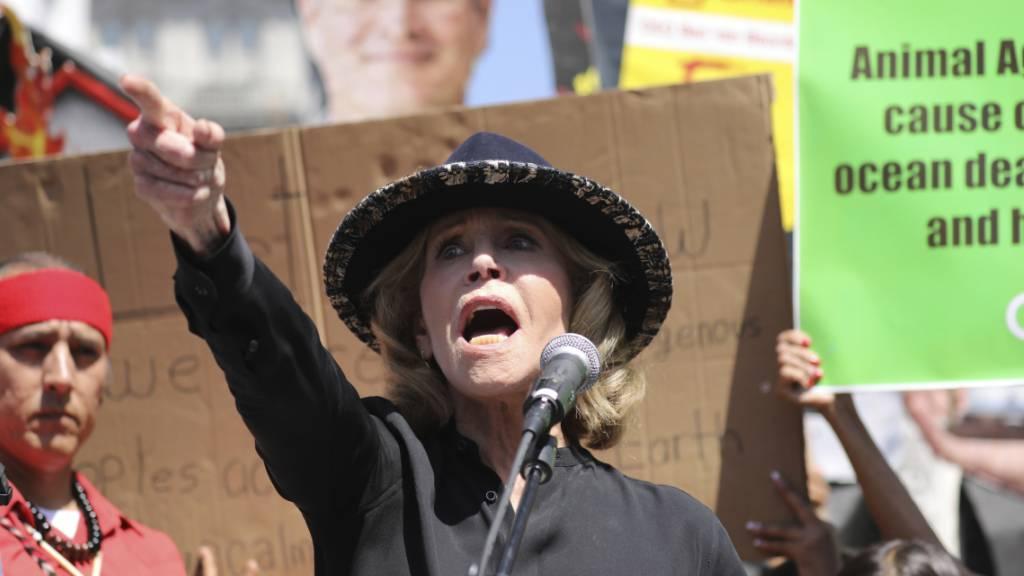 Die US-Schauspielerin Jane Fonda wurde von der schwedischen Klima-Aktivistin Greta Thunberg inspiriert. Das Bild zeigt Fonda an einer Demonstration in Los Angeles am 20. September.