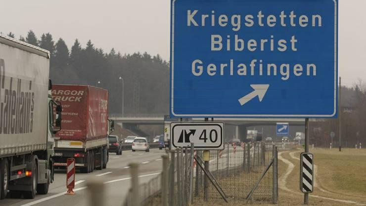Die Ausfahrt Kriegstetten/BIberist/Gerlafingen. Hier kam es zur Auseinandersetzung. (Archiv)