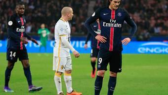 PSG-Stürmer Edinson Cavani (vorne) enttäuscht: Er vergab gegen Lille zwei grosse Chancen