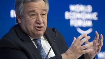 Uno-Generalsekretär António Guterres spricht am Weltwirtschaftsforum in Davos.