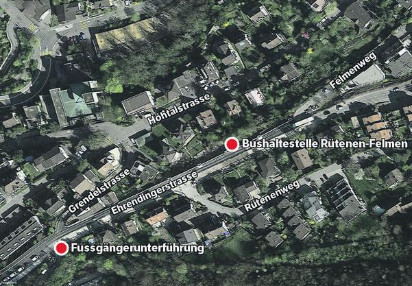 Auf dem Weg vom Quartier Rütenen-Felmen ins Dorfzentrum könnten Fussgänger die Unterführung weiter unten nutzen, so die Gemeinde.