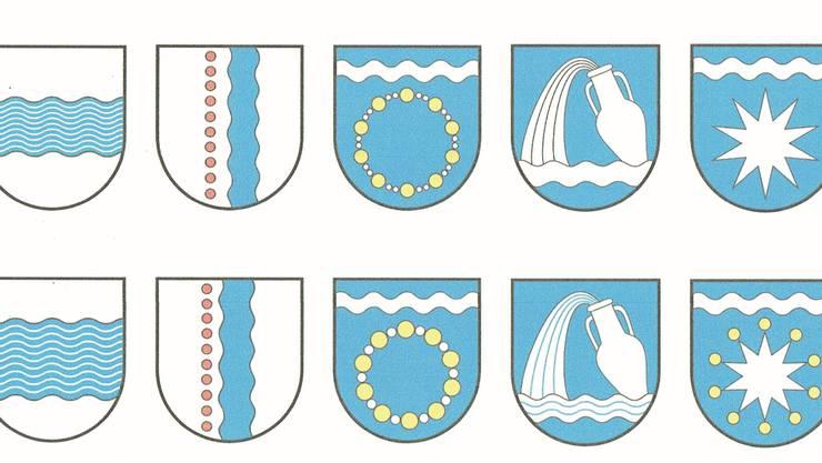 Die erste Grobselektion der Wappen: Drei Vorschläge gelangen zur Abstimmung.