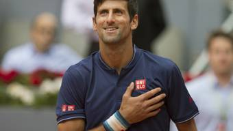 Gewann in Madrid sein erstes Spiel nach dem Trainerwechsel: Novak Djokovic freut sich über den Sieg gegen den Spanier Nicolas Almagro