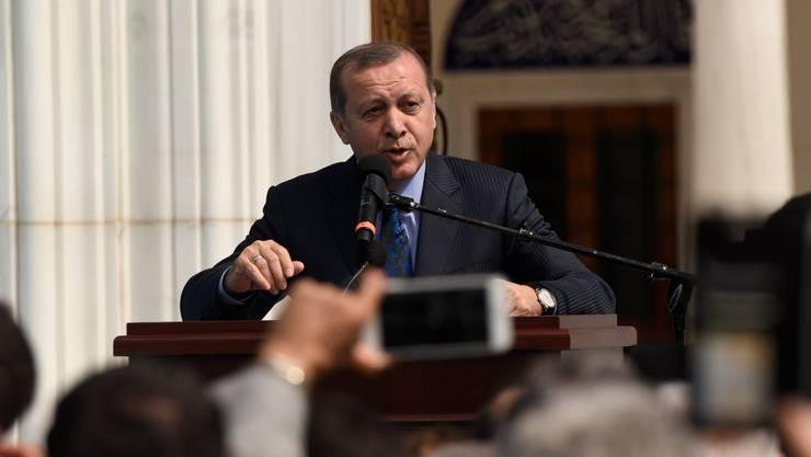 Der türkische Präsident Erdogan bei der Eröffnung eines Diyanet-Zentrums in den USA. Auch die fragliche Moschee in Lausanne operiert unter dem Dach der staatlichen Religionsbehörde.