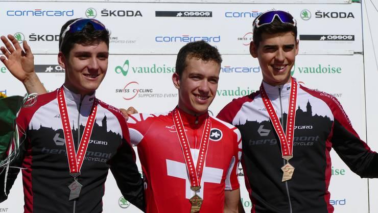 v.l.n.r. Nick Burki 2. Platz. Vital Albin, Schweizermeister, Ursin Spescha 3. Platz