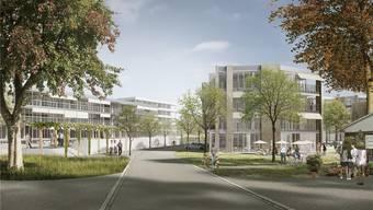 So könnten die Gebäude der Siedlungen dereinst aussehen: Die Visualisierung des Siegerprojekts zeigt die Ansicht von der Alten Bahnhofstrasse her. ZVG