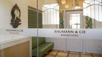 Der Eingangsbereich der Bank Baumann und Cie in Basel.