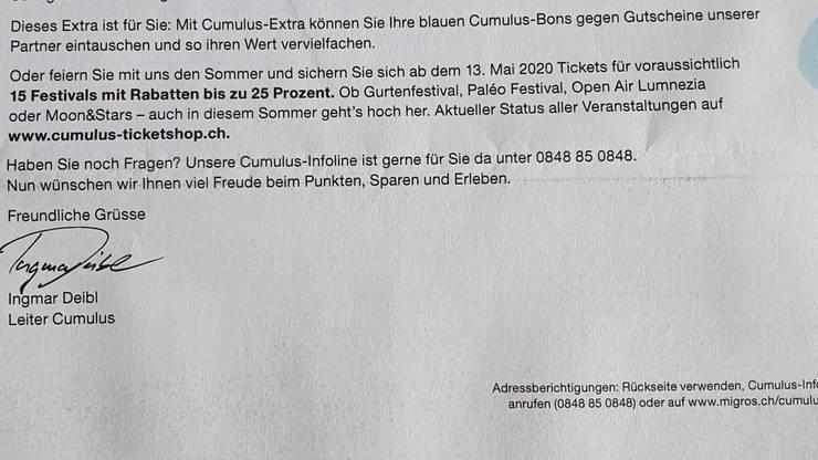 Der ominöse Brief der Migros mit dem hinweis auf Rabatte auf Festivaltickets.