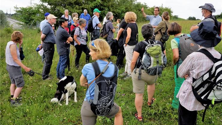 Rolf Glünkin erklärt Besucherinnen und Besuchern die Wildtierüberführung, während unten auf der Autobahn der Verkehr rollt.