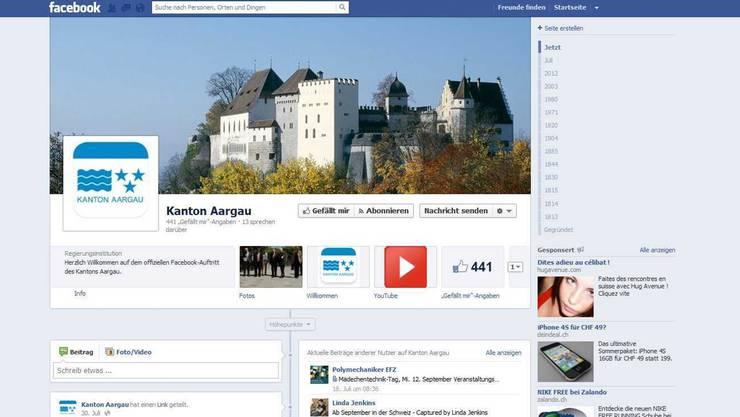 Die Facebook-Seite des Kantons Aargau hat bisher 441 Fans. Screenshot az