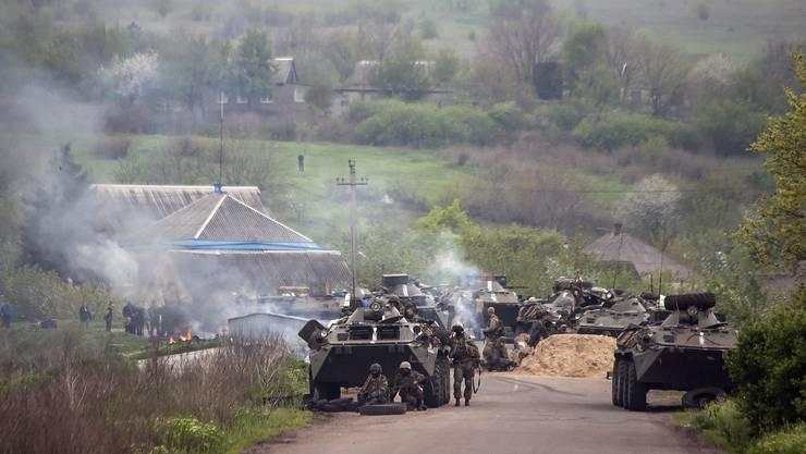 Ukrainische Soldaten vor Slawjansk.
