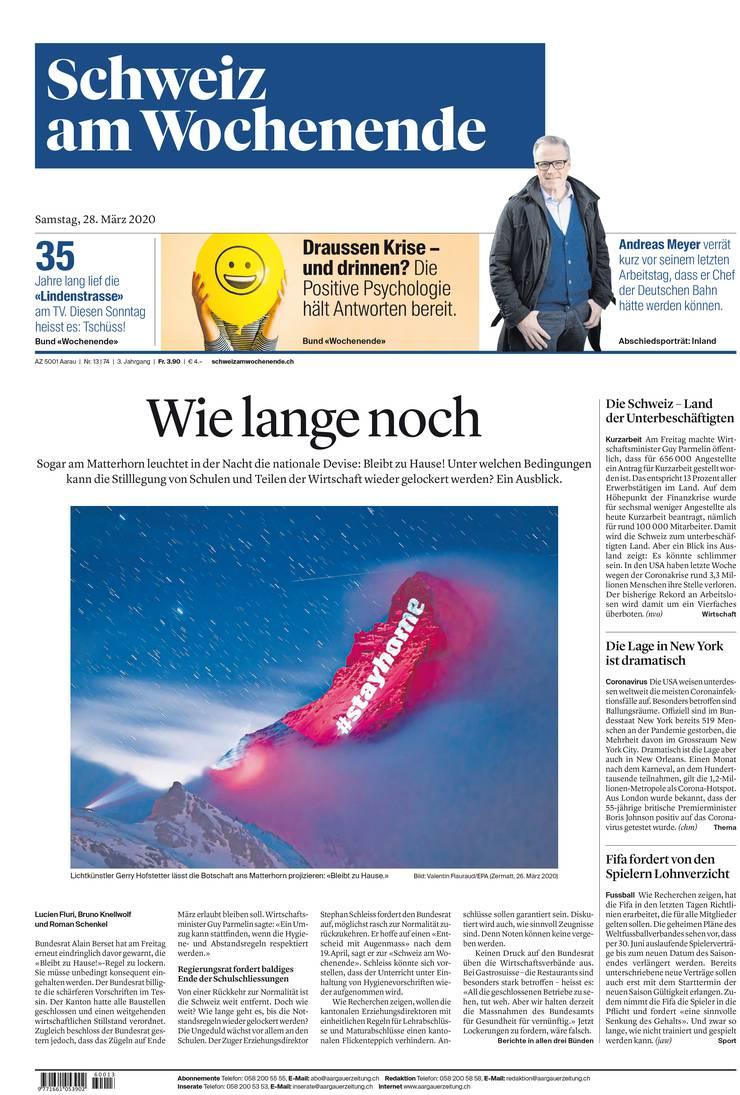 Die Frontseite der Schweiz am Wochenende.