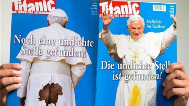 Dieses Titelbild von «Titanic» liess der Papst verbieten. Foto: AZ
