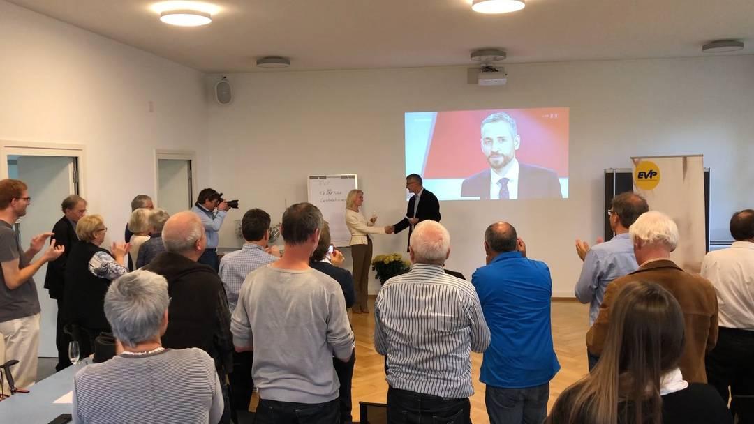 Die EVP ist neu für den Aargau im Nationalrat – für Lilian Studer gab es von den Parteikollegen im Bullingerhaus in Aarau Standing Ovations