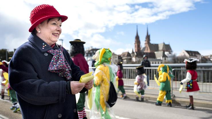 Comité-Obfrau Pia Inderbitzin an der Basler Fasnacht 2019. (Archiv)