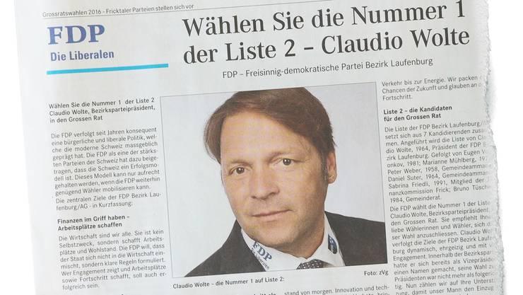 Werbung in eigener Sache: Claudio Wolte stellt im Parteiporträt seine eigene Kandidatur in den Vordergrund. twe