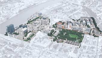 «Klybeck Plus»: Links das Novartis-Hochhaus, in der unteren Bildmitte der ehemalige Ciba-Sitz, weiter rechts der Horburg-Park.