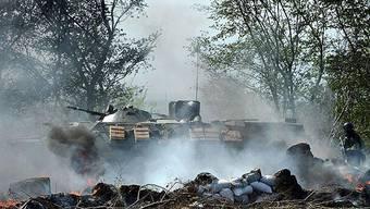 Panzer der ukrainischen Armee in Slawiansk.