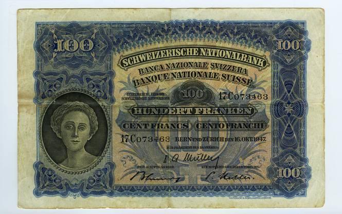 Reproduktion der Vorderseite der 100-Franken-Banknote («Mäher») der SNB, 2. Serie, ausgegeben 1911, zurückgerufen 1958. (Quelle: Archiv der SNB)