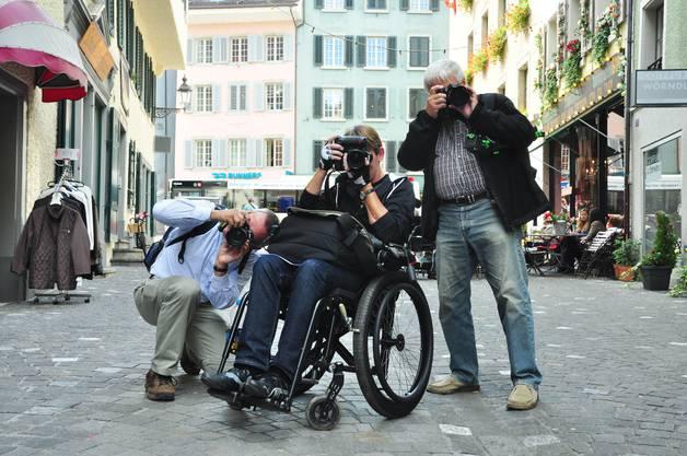 Rudi Franck, Catherine Labudda und Friedrich Bischoff sind aus Kuessaberg (D) angereist, um an der Badener Foto-Ralleyeteilzunehmen
