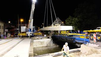 Brückenschlag über die Reppisch in der Nacht auf den 30. Juli 2019