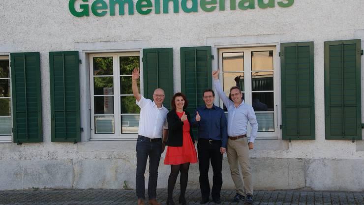 Die gewählten vier CVP Kandidaten.v.lnr. Martin Joss, Franziska Sterchi-Jäggi, Bruno Eberhard, Jürg Schärli. Sie konnten vier von sieben Gemeinderatssitze  besetzen.
