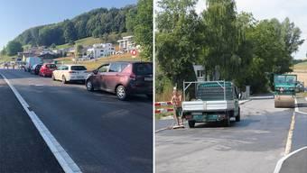 Links: Sechs Wochen länger müssen sich die Autofahrer auf der Seetalstrasse in Boniswil gedulden. Rechts: Die Vollsperrung der Strasse über den Rügel kann einen Monat früher aufgehoben werden.