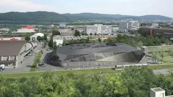 Umwelt Arena: Das markante Gebäude zwischen den Spreitenbacher Industrie- und Einkaufszentren vermittelt eine besondere Botschaft, auf der Computergrafik ist bereits die Limmattalbahn, ein weiteres ökologisches Projekt, eingezeichnet. (Walter Schwager)