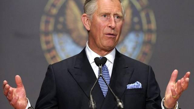 Prinz Charles hält eine Rede an der Georgetown Universität in Washington D.C.