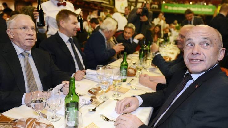 Alt-Bundesrat Christoph Blocher und Bundespräsident Ueli Maurer an der Albisgüetli-Tagung